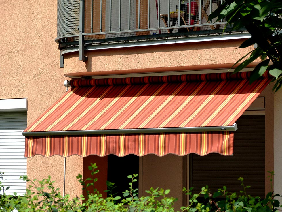 a striped fabric awning
