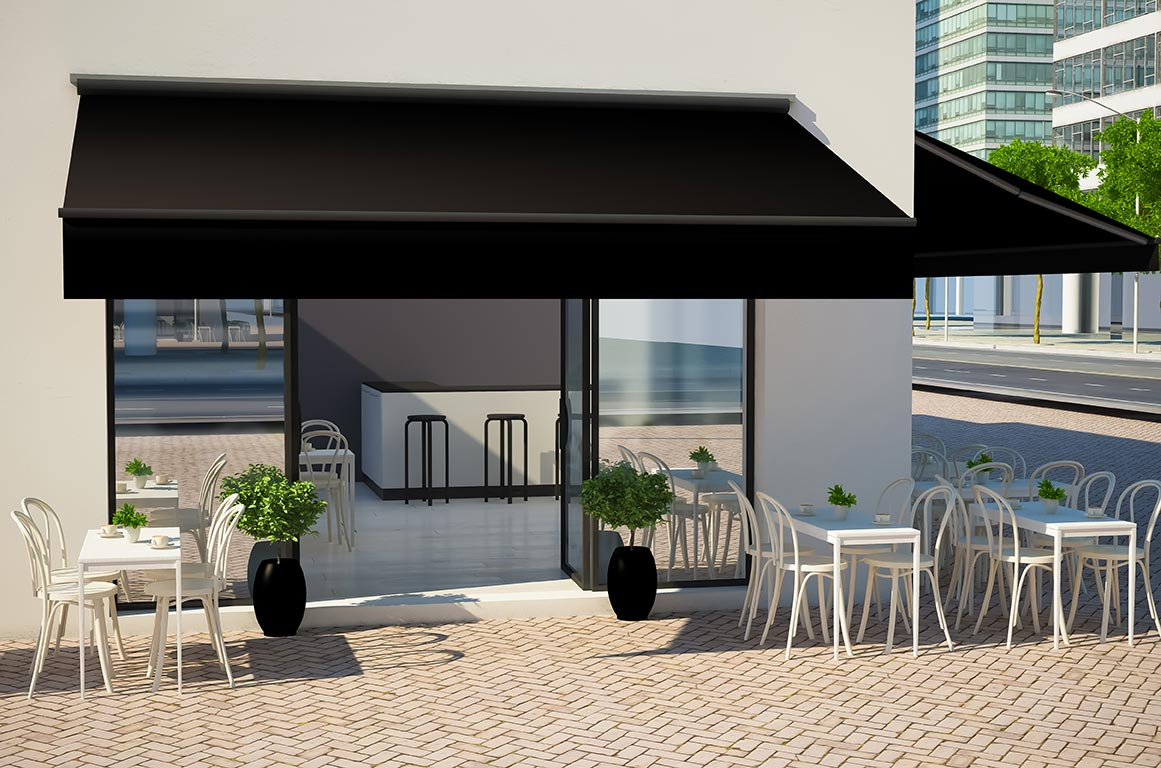 awnings shade a restaurant's outdoor dining area